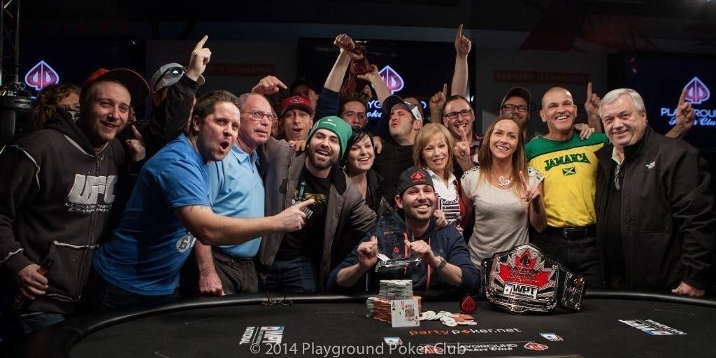 Jason Comtois, the winner of the 2014 WPT Canadian Spring Championship (with friends).